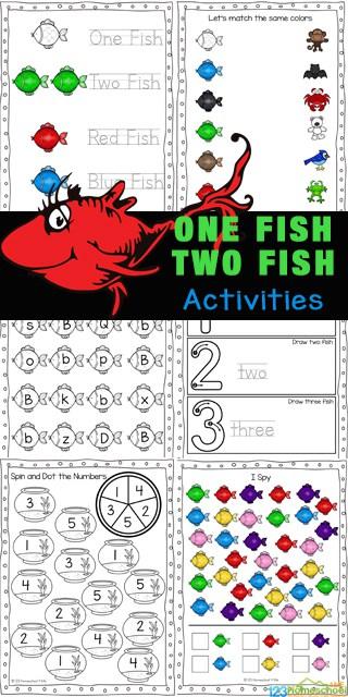 Dr Seuss Free Printables. #freehomeschooldeals #fhdhomeschoolers #DrSeussfreeprintables #DrSeussprintables #DrSeussresources #onefishtwofish #drseussworksheets