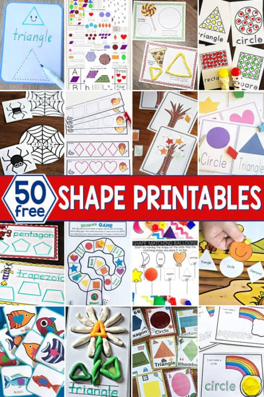 50 FREE Printables about Shapes. #freehomeschooldeals #fhdhomeschoolers#shapeprintables #printablesaboutshapes #learningshapes