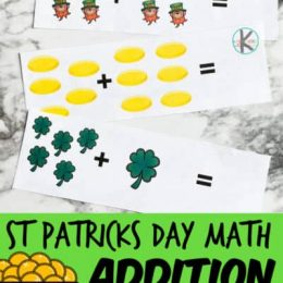 FREE Simple Addition Strips. #freehomeschooldeals #fhdhomeschoolers #stpatricksdaymath #stpatricksdayadditionstrips #additionstrips #additionpractice