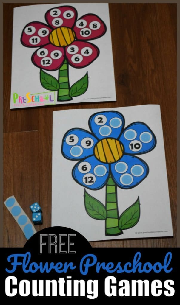 FREE Flower Counting Printable. #freehomeschooldeals #fhdhomeschoolers #flowercountingprintable #countingpractice #countingflowers #preschoolcounting