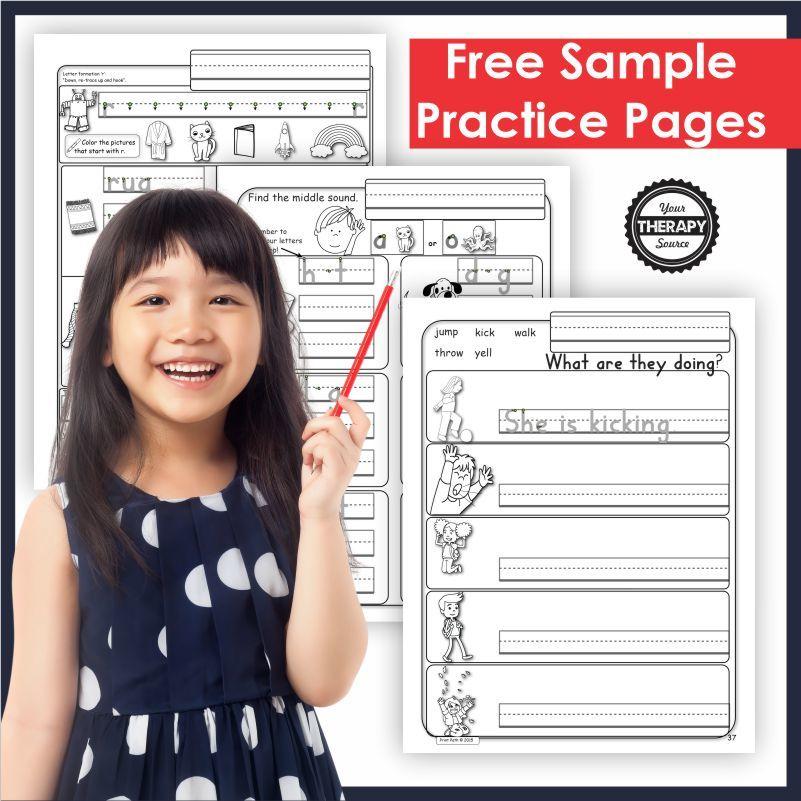 FREE Kindergarten Handwriting Pages. #freehomeschooldeals #fhdhomeschoolers #handwritingworksheets #handwritingpractice #kindergartenworksheets