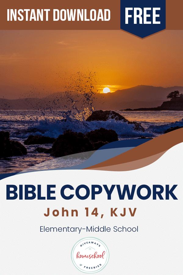 John 14 FREE Copywork. #freehomeschooldeals #fhdhomeschoolers #John14copywork #gospelcopywork #scripturecopywork #biblecopywork
