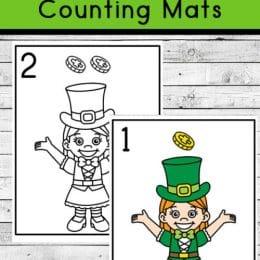 FREE Leprechaun Counting Mats. #freehomeschooldeals #fhdhomeschoolers #leprechauncountingmats #countingmats #leprechaunresources #leprechaunprintable