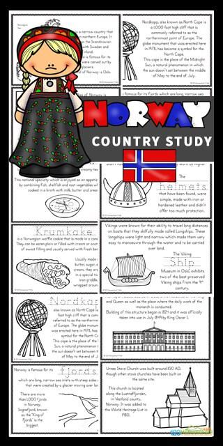 FREE Norway Mini Book. #freehomeschooldeals #fhdhomeschoolers #norwaycountrystudy #norwaystudy #norwaybook #norwayprintable