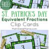 FREE Shamrock Fraction Clip Cards. #freehomeschooldeals #fhdhomeschoolers #stpatricksdayclipcards #stpatricksdayfractionpractice #shamrockfractions #shamrockclipcards