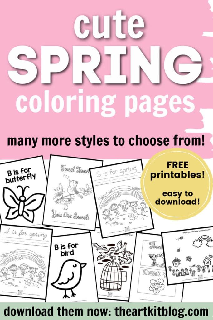 Spring FREE Coloring Pages. #freehomeschooldeals #fhdhomeschoolers #springcoloringpages #coloringpagesforspring #adorablespringpages