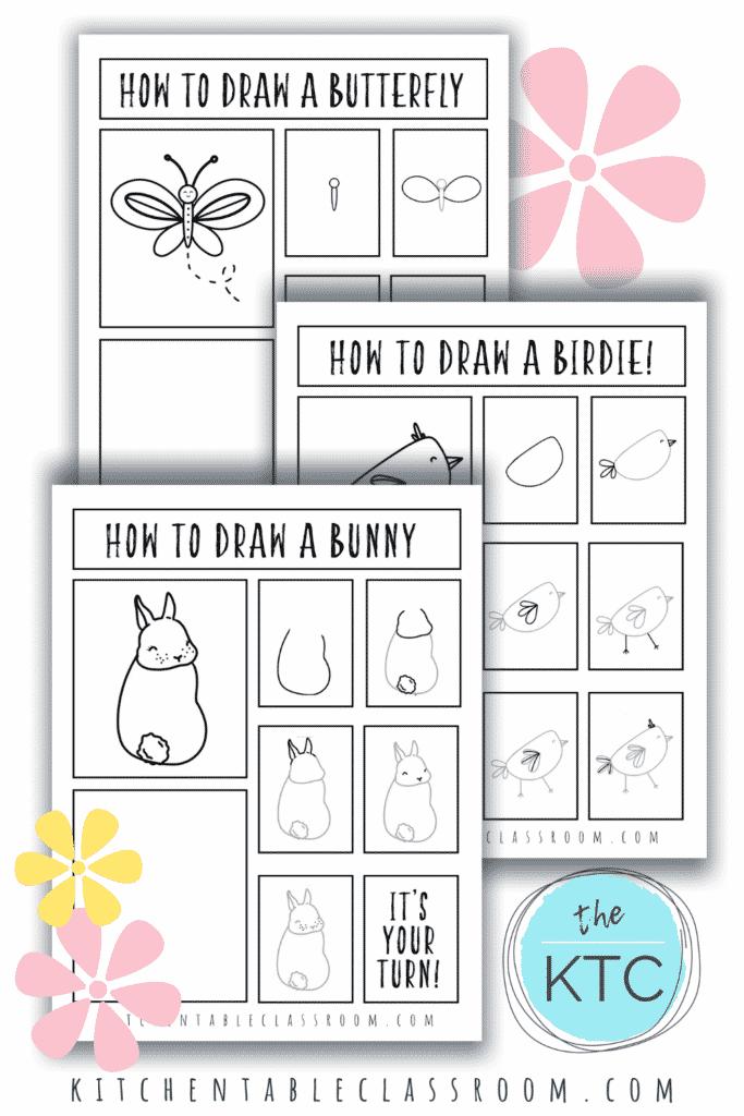 FREE Spring Drawing Guides. #freehomeschooldeals #fhdhomeschoolers #springseasonart #springdarwingguides #drawingguides
