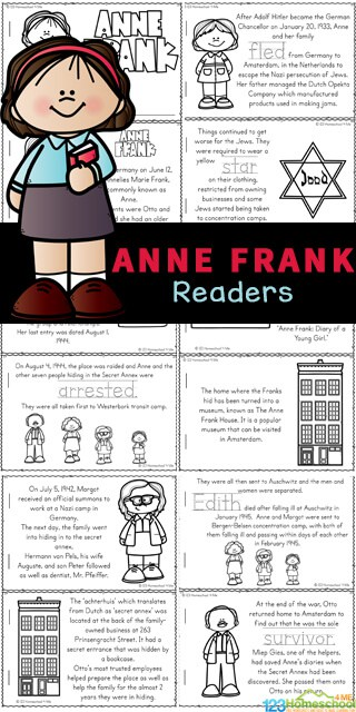 FREE Printable Anne Frank Reader. #freehomeschooldeals #fhdhomeschoolers #AnneFrankreader #annefrankprintable