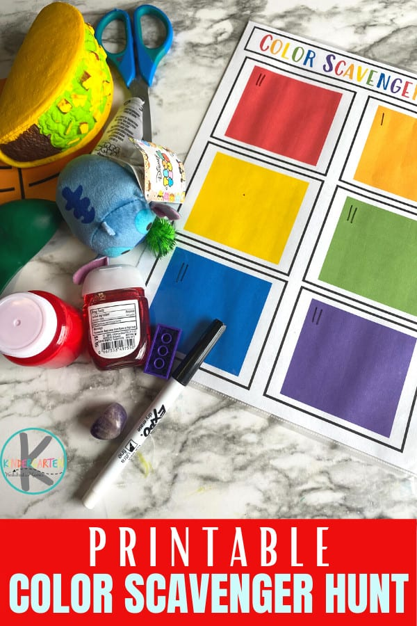 FREE Color Scavenger Hunt. #freehomeschooldeals #fhdhomeschoolers #colorscavengerhunt #learningcolorprintable #scavengerhuntforcolors