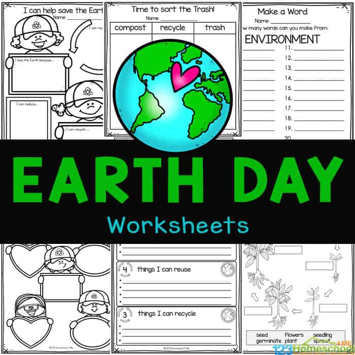 FREE Worksheets for Earth Day. #freehomeschooldeals #fhdhomeschoolers #earthdayworksheets #earthdayprintables #earthdayresources