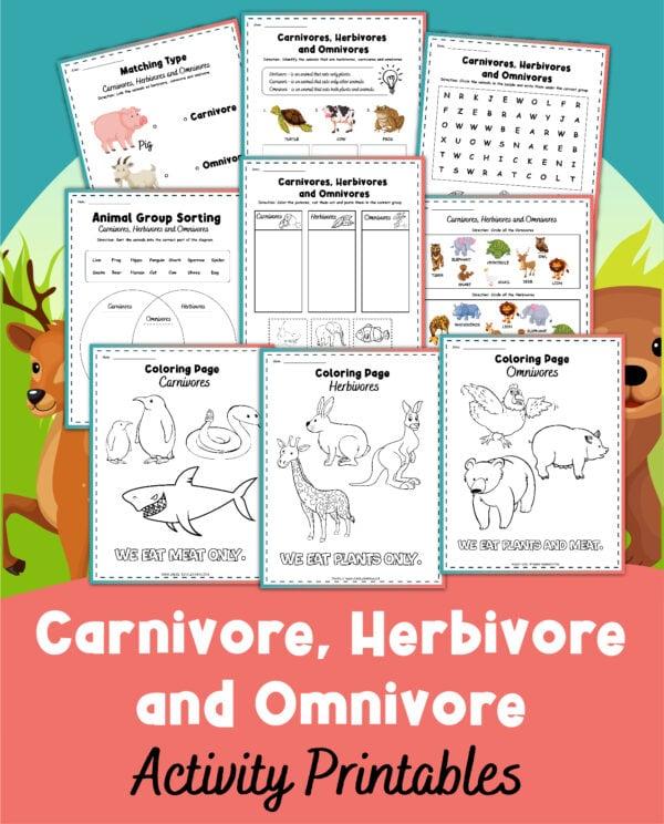 FREE Herbivore, Omnivore, and Carnivore Worksheets. #freehomeschooldeals #fhdhomeschoolers #omnivoreworksheets #carnivoreworksheets #herbivoreworksheets #animalworksheets