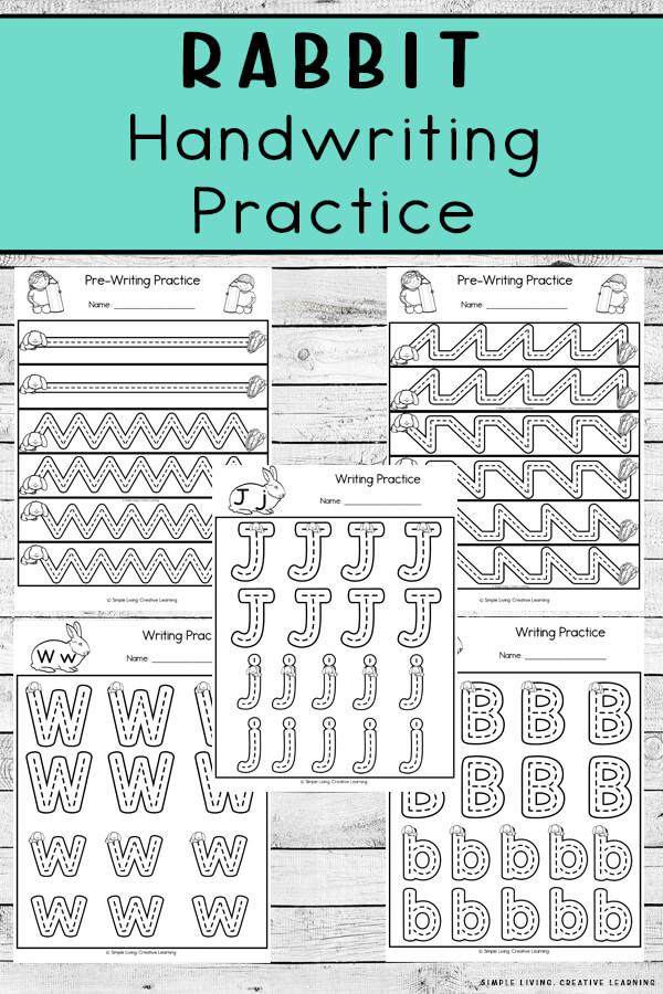 FREE Rabbit Handwriting Practice. #freehomeschooldeals #fhdhomeschoolers #handwritingpractice #rabbitthemeprintable #rabbitthemehandwititngpractice