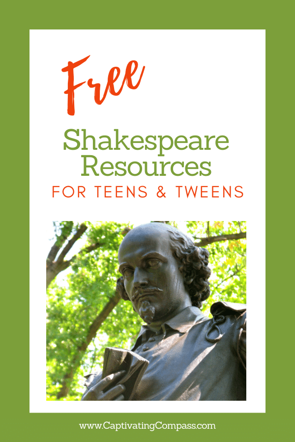 Statue of Shakespeare with overlay - FREE Shakespeare Resources for Teens & Tweens