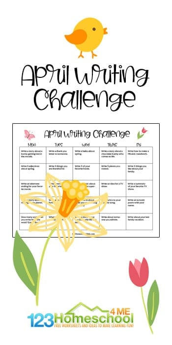 FREE April Writing Prompts. #freehomeschooldeals #fhdhomeschoolers #aprilwritingprompts #writingprompts #aprilprintables
