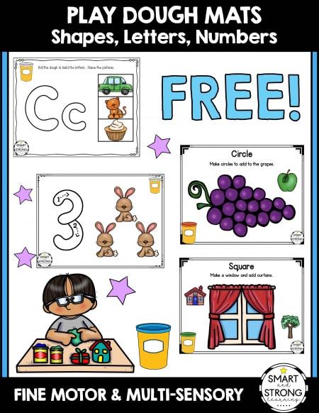 Free Play Dough Mat Printables. #freehomeschooldeals #fhdhomeschoolers #playdoughprintables #playdoughresources #playdoughmats