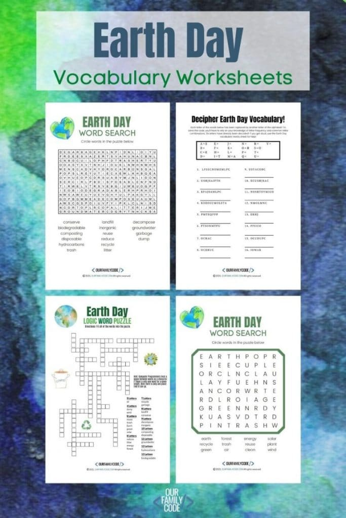 FREE Earth Day Vocabulary Activities. #freehomeschooldeals #fhdhomeschoolers #vocabularyactivities #earthdayvocabulary #earthdayactivities