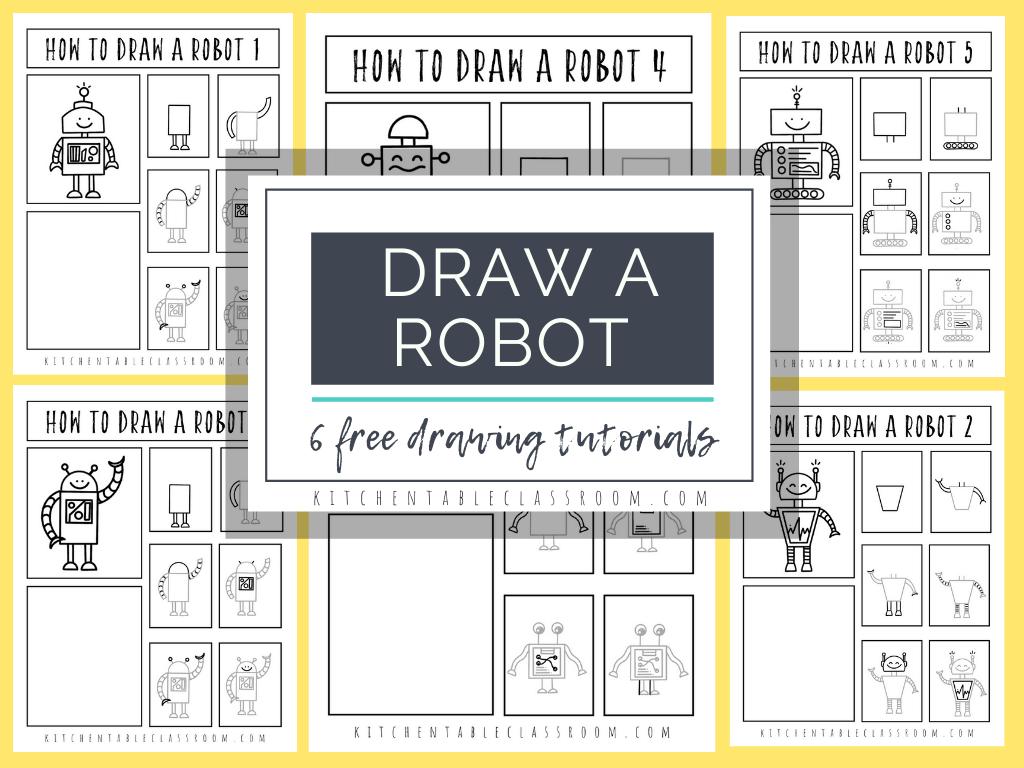 FREE Robot Drawing Downloads. #freehomeschooldeals #fhdhomeschoolers #robotdrawingdownload #howtodrawarobot #drawarobot #drawingtutorial