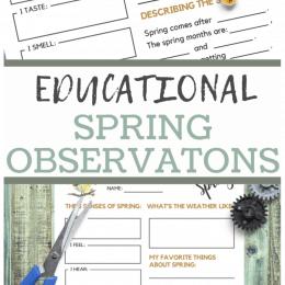 Spring Observations FREE Worksheets. #freehomeschooldeals #fhdhomeschoolers #springobservationsworksheets #springobservationsprintables