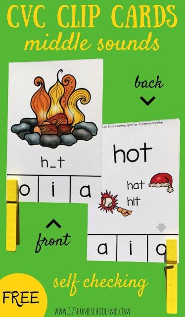 CVC Middle Sound Clipcards. #freehomeschooldeals #fhdhomeschoolers #cvcwords #kindergartenworksheets #learningcvcwords