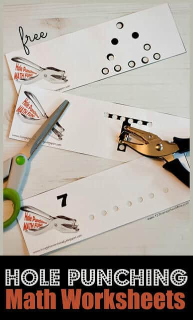 FREE Hole Punch Counting Worksheets. #freehomeschooldeals #fhdhomeschoolers #holepunchcountingworksheets #holepunchworksheets #holepunchcounting #countingworksheets