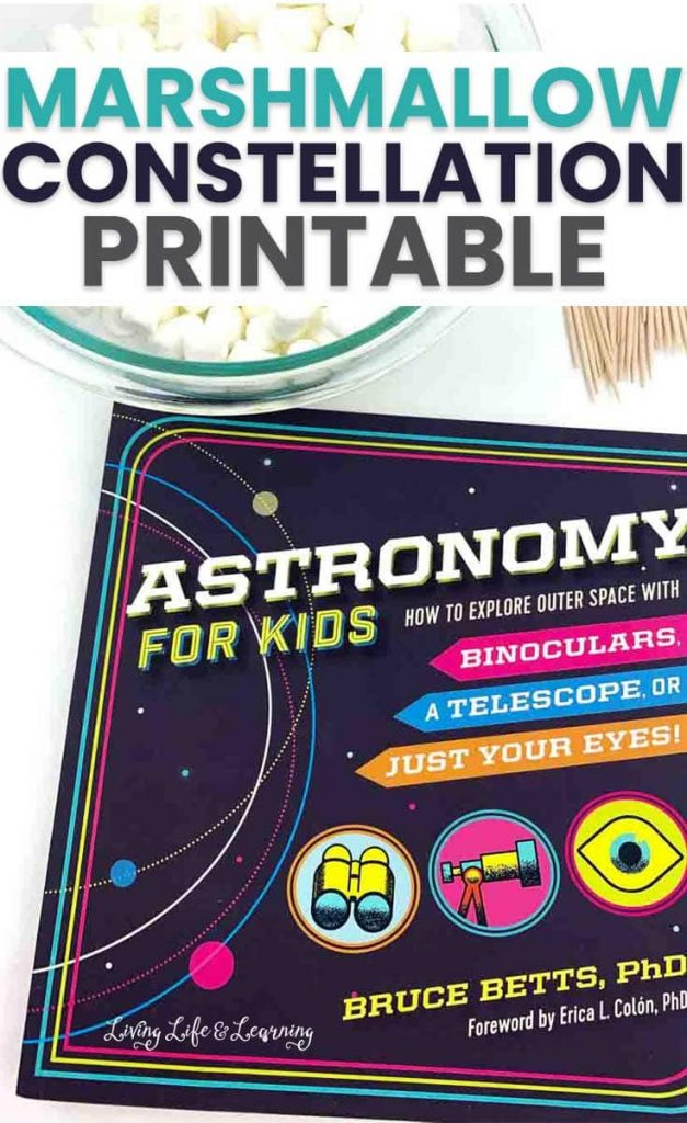 With these free printable marshmallow constellations activity kids will be able to folllow and create the constellations for Ursa Major, Ursa Minor, Cassiopeia, and Canis Major.