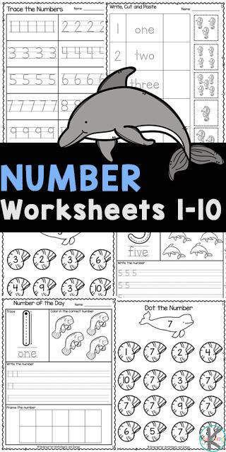 Ocean Themed Number Tracing Worksheets.  #freehomeschooldeals #fhdhomeschoolers #preschoolworksheets #numbertracingworksheets #preschoolmath