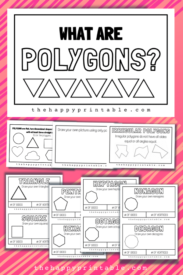 Free All About Polygons Book. #freehomeschooldeals #fhdhomeschoolers #polygonsbook #allaboutpolygons #polygonprintable