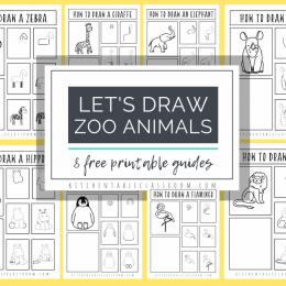 FREE Zoo Animal Drawing Tutorials. #freehomeschooldeals #fhdhomeschoolers #zooanimaldrawings #zooanimaltutorials #drawzooanimals