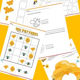 Preschool Bee Activity Pages. #freehomeschooldeals #fhdhomeschoolers #learningaboutbees #beeactivitypack #preschoolbeeactivities