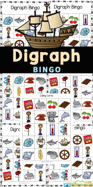 digraph Bingo card images and a large pirate ship with text overlay