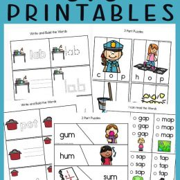 cvc word printables with adorable images and text overlay