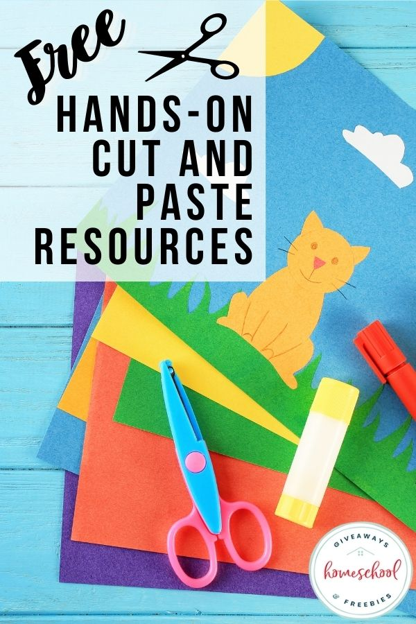 cut and paste colorful paper of a cat and background with scissors and glue