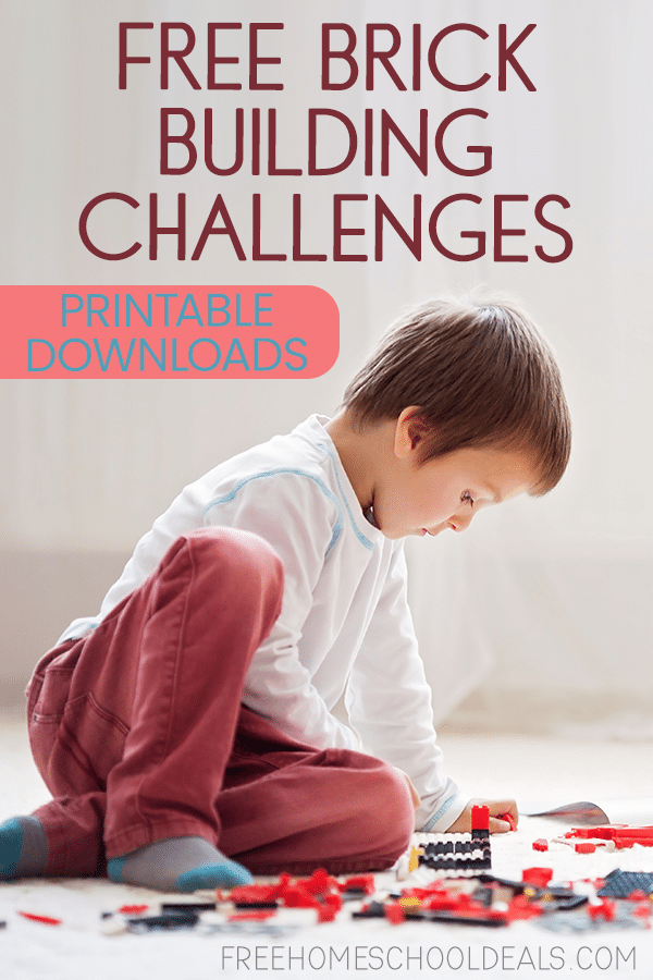 """young boy on the floor playing with LEGO brick pieces with overlay """"FREE Brick Building Challenges - Printable Downloads"""""""