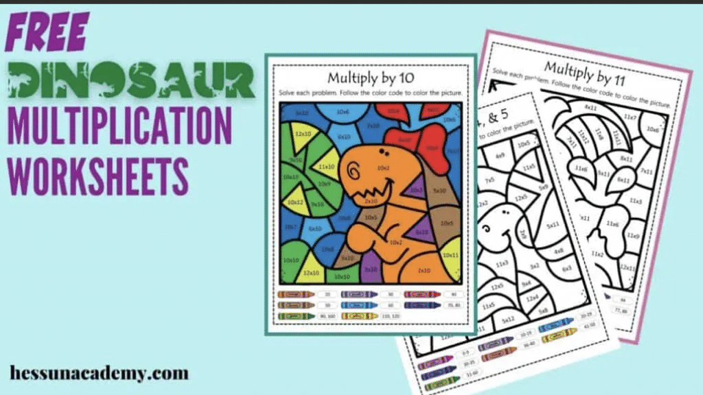 Color By Number Multiplication Pages. #freehomeschooldeals #fhdhomeschoolers #studyingmultiplication #colorbynumbermath #multiplicationworksheets