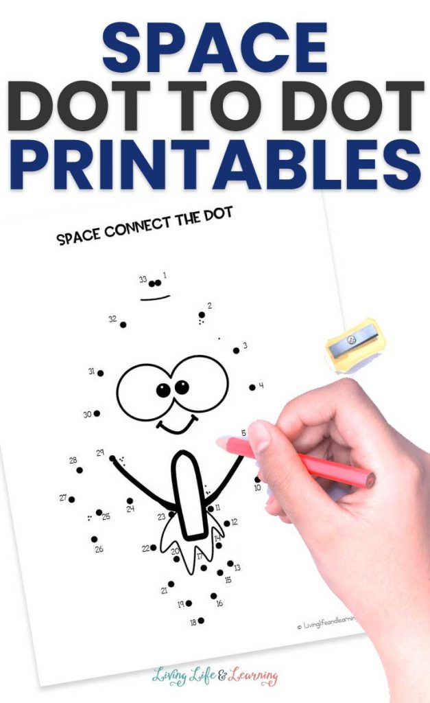 space connect the dot activity with a smiley face with text overlay