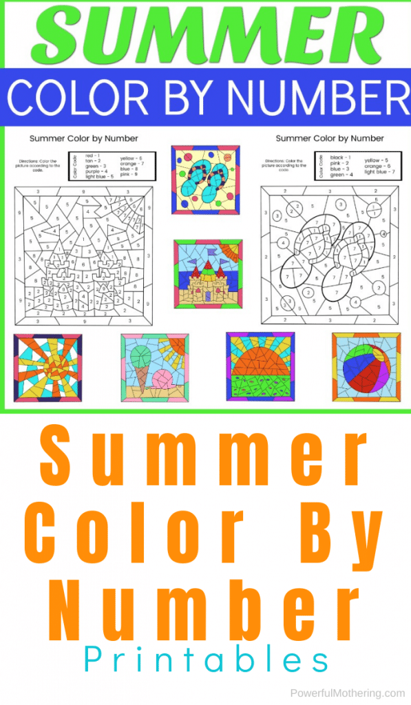 summer-themed , colorful color-by-number page samples