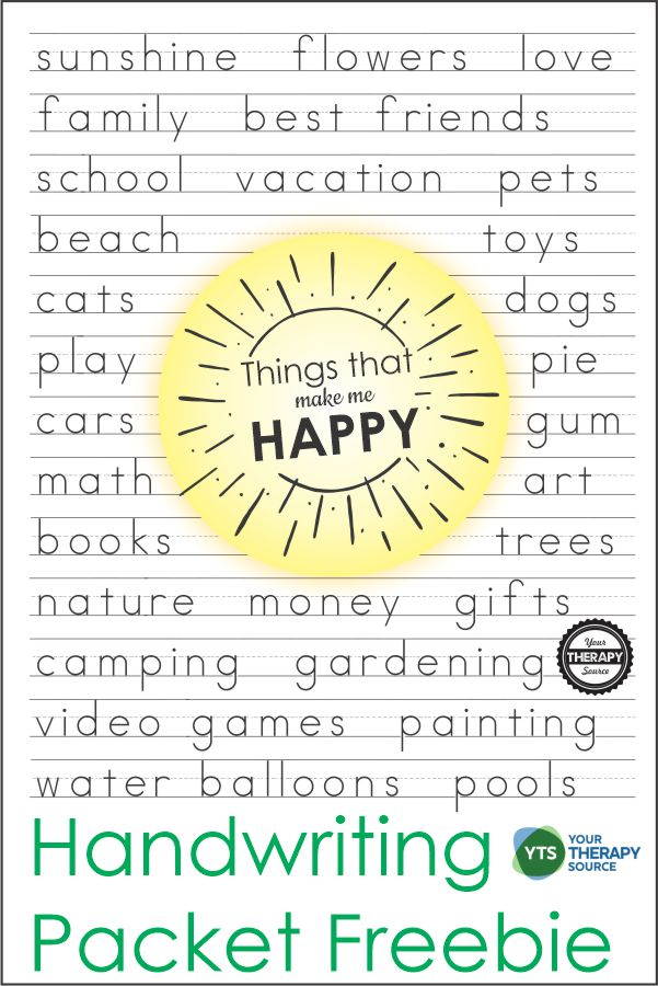 Happy Things Handwriting Pages. #freehomeschooldeals #fhdhomeschoolers #handwritingpractice #middleschoolhandwriting #funhandwritingpractice