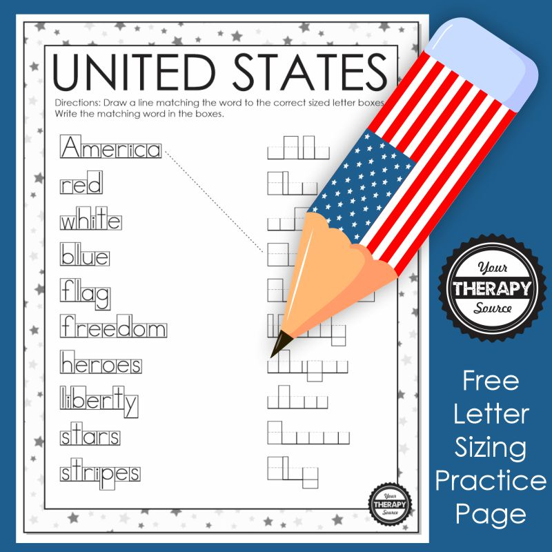 pencil with flag on the letter sizing worksheet