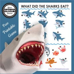 What did the sharks eat? free printable game with adorable shark images with white and blue background