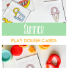 Summer play dough cards with summer images like ice cream, watermelon, and water and text overlay