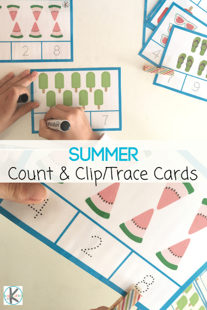 count and clip tracing cards with images like ice cream and watermelon with text overlay