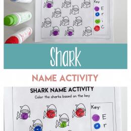 Shark-Themed Name Practice Worksheet. #freehomeschooldeals #fhdhomeschoolers #preschoolnameworksheet #freesharkworksheet #learningmyname