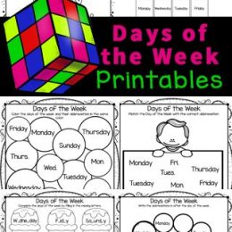 Days of the Week Activities days of the week printables images, a colorful rubix cube, and text overlay. #freehomeschooldeals #fhdhomeschoolers #learningdaysoftheweek #daysoftheweekactivity #daysoftheweekworksheets
