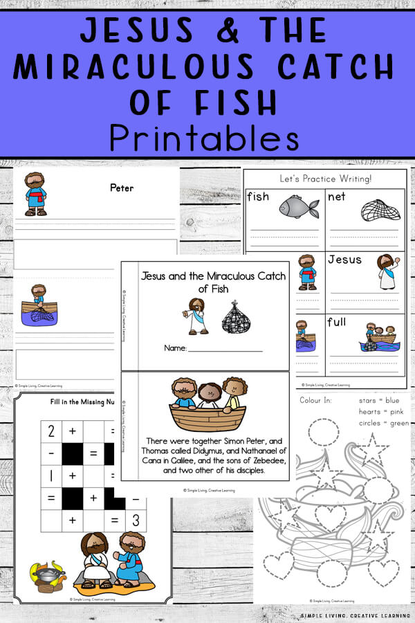 Great Catch of Fish Worksheets. #freehomeschooldeals #fhdhomeschoolers #learningaboutmiraclesofjesus #biblestorylearning #miracleoffishworksheets