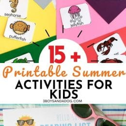 Free Summer Printable Activities, colorful papers and summer animal cards with text overlay. #freehomeschooldeals #fhdhomeschoolers #freesummeractivities #summerprintablesforkids #summerworksheetsandgames