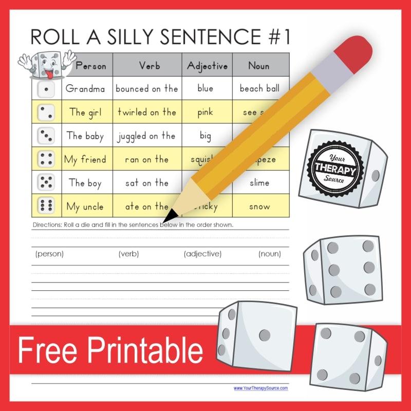 Silly Sentence Writing Activity. #freehomeschooldeals #fhdhomeschoolers #learningtowritesentences #writesillysentences #sentencewritingactivity