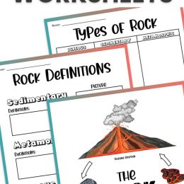 Free Rock Study Worksheets, rocks and rock cucle printables images, and text overlay. #freehomeschooldeals #fhdhomeschoolers #studyingrocks #typesofrocksworksheets #freerocksworksheets