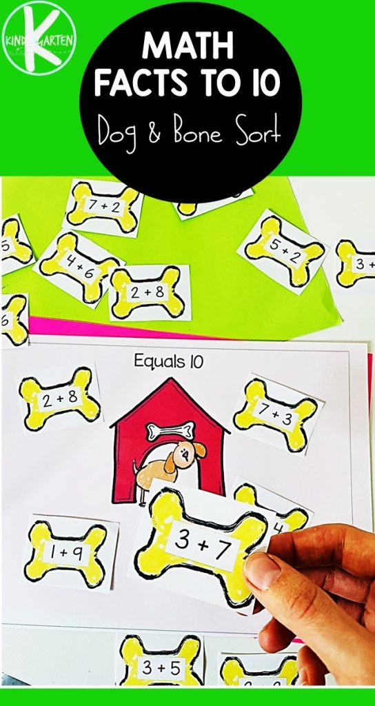Adding to Ten Math Game, doggy bone printables with text overlay. #freehomeschooldeals #fhdhomeschoolers #addingtoten #earlymathgames #additiongames