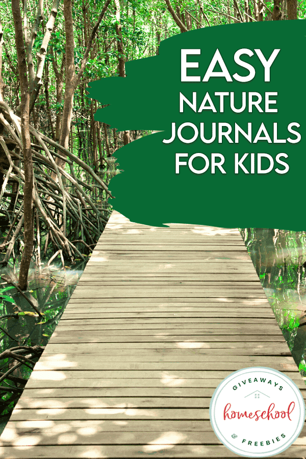Nature Journaling Pages for Kids, nature path landscape background and text overlay. #freehomeschooldeals #fhdhomeschoolers #freenaturejournalsforkids #naturejournaling #learningaboutnature