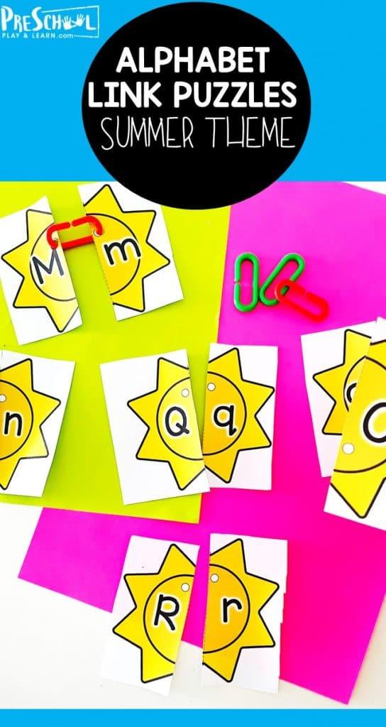 Summer Letter Matching Puzzles. #freehomeschooldeals #fhdhomeschoolers #lettermatchingpuzzles #freepreschoolpuzzles #summerlearningactivity